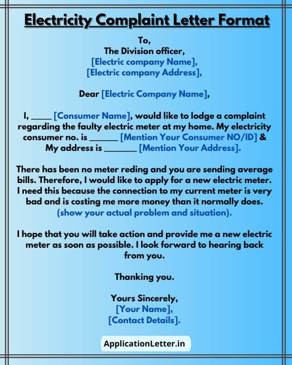 Electricity Complaint Letter Format Sample, Complaint Letter For Electricity Meter, Faulty Electricity Meter Complaint Letter